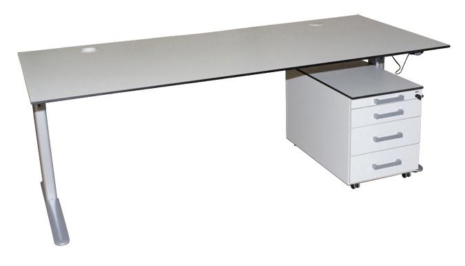 Steh- Sitz- Schreibtisch und Rollcontainer Kombi von SCHÄRF, TOP Zustand!