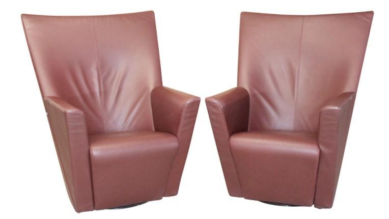 LEDER Loungestühle - ARFLEX / Italy, schwer, drehbar, dunkles bordeauxrot