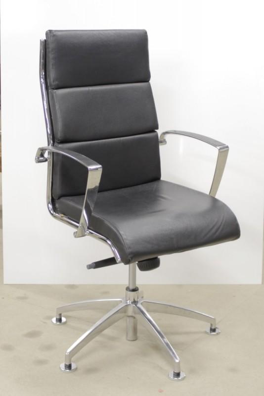 Drehstuhl / Konferenzstuhl- Leyform, schwarz, Leder
