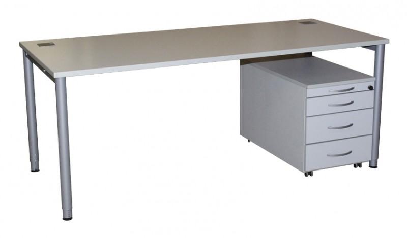 Schreibtisch, Rollcontainer, Komplettset, weiß, 180x80