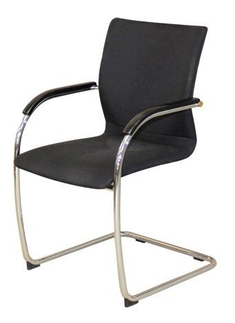 Freischwinger / Konferenzstuhl, schwarz, Stoff