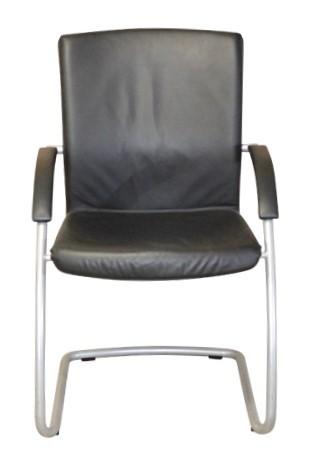 LEDER Freischwinger / Besucherstuhl - schwarz, Silbergestell